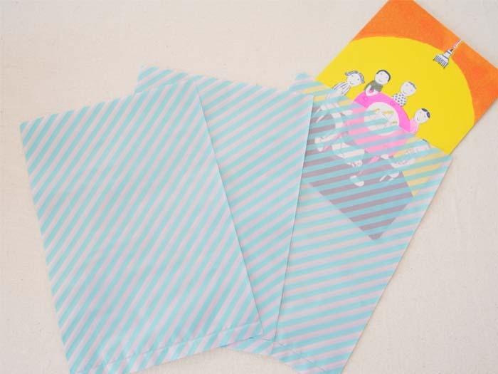 水色 縞々 ビニール小袋