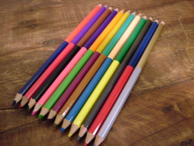 水縞 2色 色鉛筆